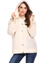 Apricot Women Hooded Long Sleeve Solid Lightweight Jacket