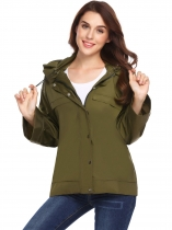 Army green Women Hooded Long Sleeve Solid Lightweight Jacket