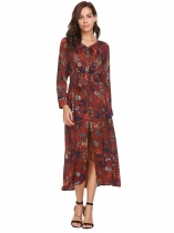 Wine red Women Bohemian Tie-Bow Neck Long Sleeve Floral Button Front Split Maxi Dress