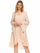 Apricot Women's Flare Long Sleeve Lace Patchwork Casual Loose Dress