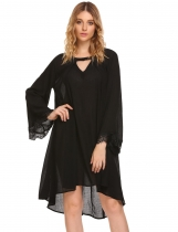 Black Women's Flare Long Sleeve Lace Patchwork Casual Loose Dress