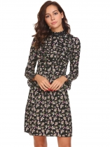 Noir Women Stand Collar Long Sleeve Ruffles Floral Robe de soirée Casual