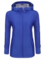 Royal Blue Women Lightweight Waterproof Hooded Zip Up Casual Jacket Raincoat w/ Pocket