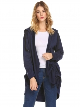 Dark blue Women Open Front Drawstring Split Loose Hoodies