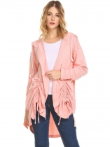 Pink Women Open Front Drawstring Split Loose Hoodies