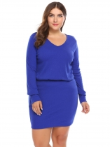 Blue Long Sleeve Solid Bodycon Dress Plus Size