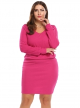 Rose red Long Sleeve Solid Bodycon Dress Plus Size