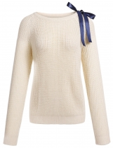 Beige Bow Tie Solid Long Sleeve O-Neck Casual Knit Sweater