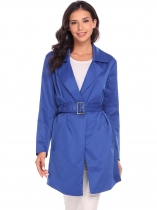 Royal Blue Women Casual Turn-down Collar Long Sleeve Solid Button Pocket Windbreaker with Belt