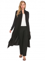 Black Casual Long Sleeve Solid Open Front Cardigan