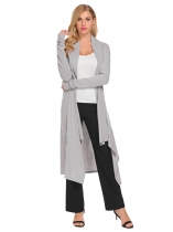 Light gray Casual Long Sleeve Solid Open Front Cardigan