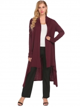Wine red Casual Long Sleeve Solid Open Front Cardigan