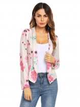 Gray Long Sleeve Lapel Floral Front Open OL Slim Blazer