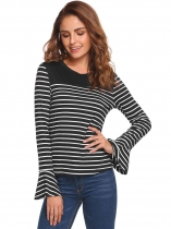Black Striped Flare Long Sleeve Tops