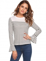 White Striped Flare Long Sleeve Tops
