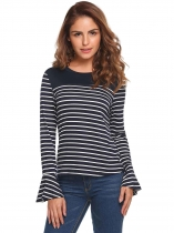 Navy blue Striped Flare Long Sleeve Tops