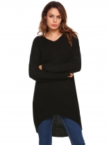 Black Hooded Long Sleeve Solid Loose Sweater