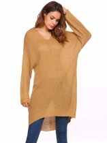 Coffee Hooded Long Sleeve Solid Loose Sweater