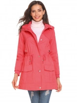 Orange red Women Casual Detachable Hooded Military Jacket Solid Zip Up Outwear