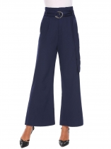 Dark blue Women High Waist Wide Leg Pleated Detail Casual Palazzo Pants with Belt
