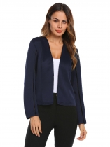 Navy blue Women Long Hollow Sleeve Hook and Eye Blazer Jacket Slim OL Business