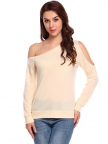 Beige Women Casual Oblique Collar Long Sleeve Cold One Shoulder Solid Casual Tops