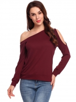 Wine red Women Casual Oblique Collar Long Sleeve Cold One Shoulder Solid Casual Tops