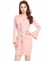 Rose foncée Rose Femmes Casual O Cou Flare Sleeve Solid Front Ruffle Package Hip Bodycon Sexy Dress