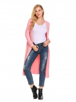 Pink Long Sleeve Open Front Cardigan Solid Outwear Split Hem