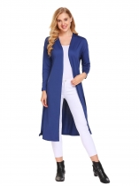 Royal Blue Long Sleeve Open Front Cardigan Solid Outwear Split Hem
