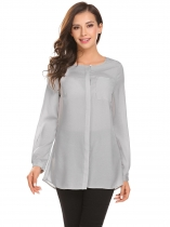 Light gray Women Fashion O-Neck Long Sleeve Solid Button Chiffon Shirt