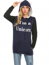 Navy blue Women Long Sleeve Cartoon Printed Hoodie with Fleece