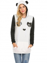 White Women Long Sleeve Cartoon Printed Hoodie with Fleece