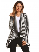 Gray Cotton Long Sleeve Striped Tassel Draped Irregular Cardigan
