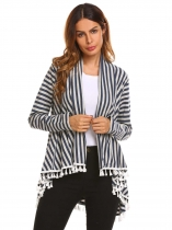 Navy blue Cotton Long Sleeve Striped Tassel Draped Irregular Cardigan