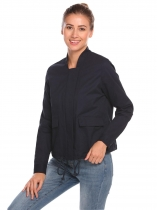 Navy blue Women Long Sleeve Drawstring Hem Double Pockets Jacket