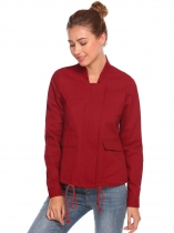 Wine red Women Long Sleeve Drawstring Hem Double Pockets Jacket