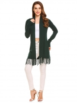 Dark green Women's Long Sleeve Open Front Solid Thin Knit Tassel Sweater Cardigan