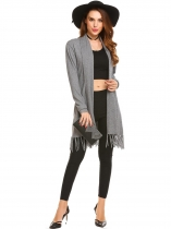 Light gray Women's Long Sleeve Open Front Solid Thin Knit Tassel Sweater Cardigan