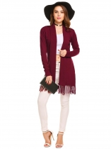 Wine red Women's Long Sleeve Open Front Solid Thin Knit Tassel Sweater Cardigan