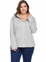 Grey Autumn Plus Size Long Sleeve Solid Zipper Pocket Warm Blank Coat