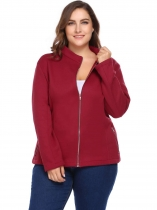 Wine red Autumn Plus Size Long Sleeve Solid Zipper Pocket Warm Blank Coat