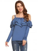 Royal Blue Women Casual Spaghetti Straps Cold the Shoulder Solid Ruffle Slim Sexy T-shirt Tops