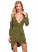 Verde del ejército Mujeres Moda Deep V cuello de manga larga sólido Bodycon Slim Pencil Dress