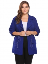 Royal Blue Women Plus Size Lapel Roll Up Sleeve Drawstring Waist Casual Coat
