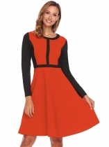 Dark orange Femmes O cou à manches longues Patchwork Casual Party Fit et Flare Dress