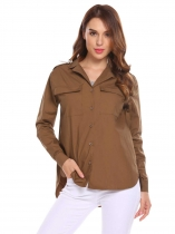 Brown Women Casual Button Down Long Sleeve Solid Front Pockets Shirt