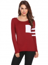 Wine red Women Casual O-Neck Long Sleeve Patchwork Pocket Slim Fit Sexy Blouse T-shirt