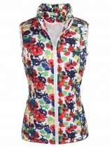 Blue Women's Warm Stand Collar Zip Up Floral/ Solid Casual Quilted Vest w/ Pocket