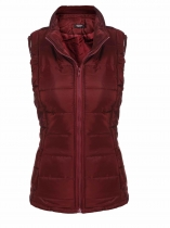 Wine red Women's Warm Stand Collar Zip Up Floral/ Solid Casual Quilted Vest w/ Pocket